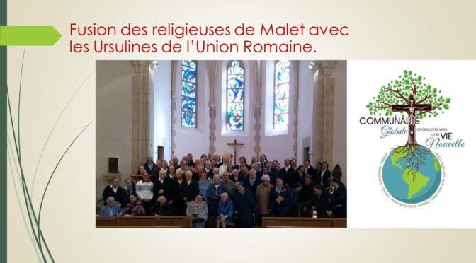 Journée festive au couvent de Malet à l'occasion de leur fusion avec les Ursulines de l'Union Romaine
