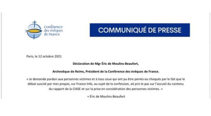 Déclaration de Mgr Éric de Moulins-Beaufort, Archevêque de Reims, Président de la Conférence des évêques de France.